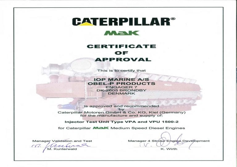 Caterpillar - Certificate of approval
