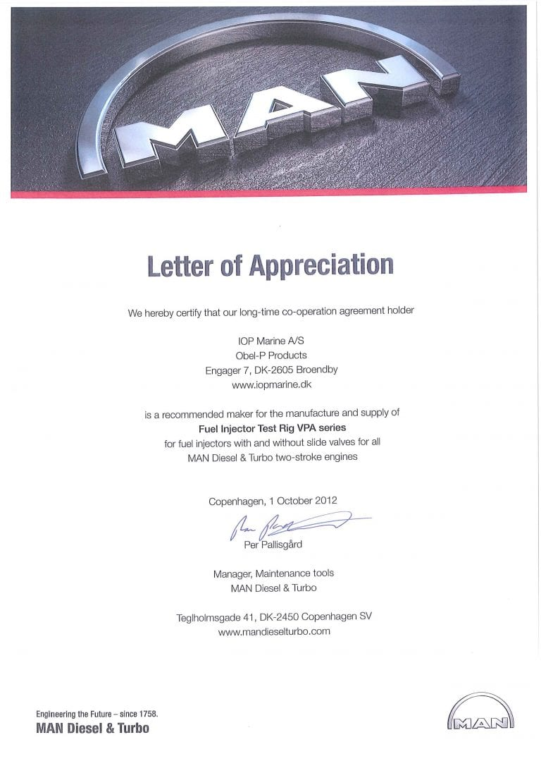 MAN - Letter of appreciation