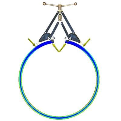 The figure shows the stress distribution in a ring opened with a UPRE Unistress Piston Ring Expander.