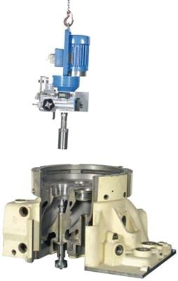Special split spindle provides for excellent accessibility and automatic centering without further adjustments